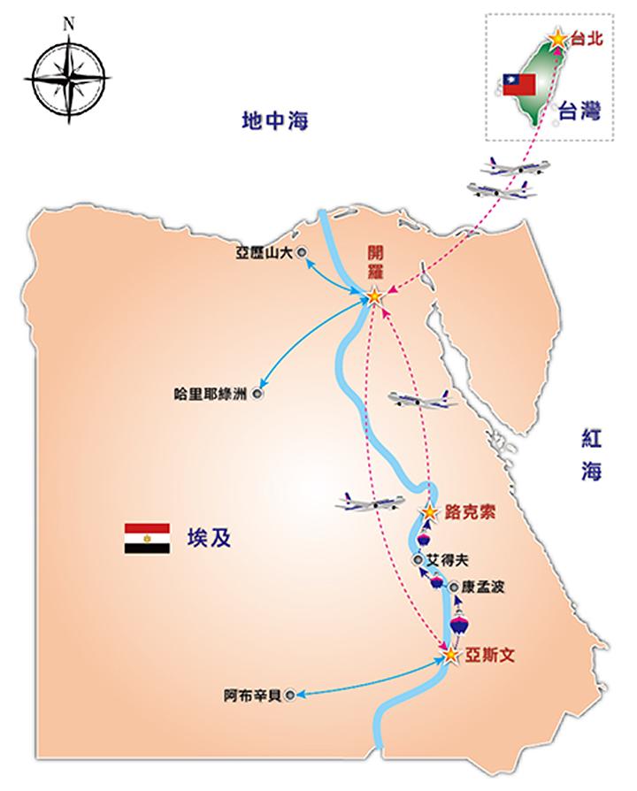 埃及旅游手绘地图
